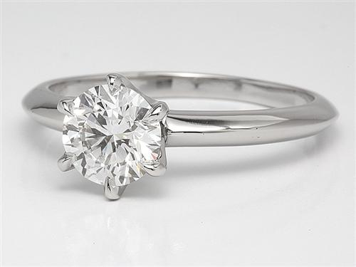 Platinum 0.95 Round cut Solitaire Engagement Ring