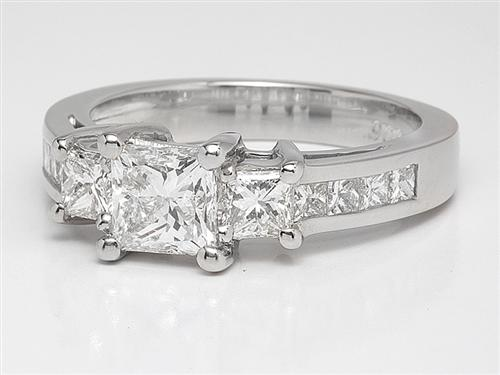 Platinum 0.77 Princess cut Engagement Ring With Side Stones