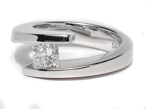 White Gold 0.78 Princess cut Tension Ring Setting