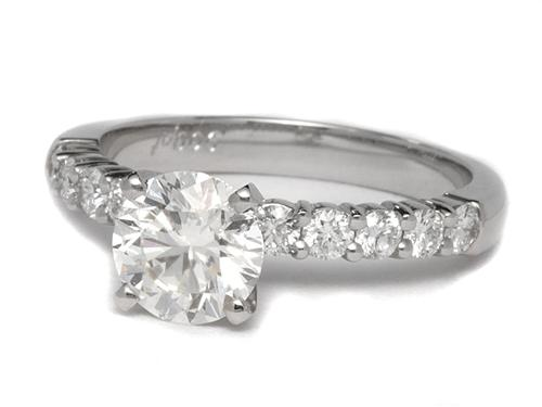Platinum 1.30 Round cut Diamond Ring With Side Stones
