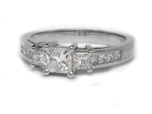 White Gold 0.71 Princess cut Side Stone Engagement Ring