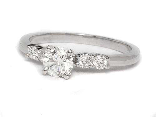White Gold 0.50 Round cut Engagement Rings With Side Stones