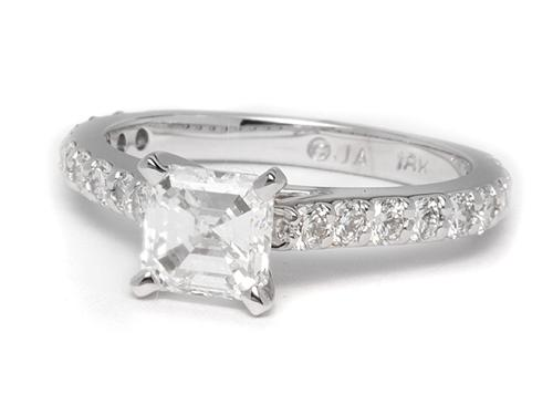 White Gold 0.91 Asscher cut Side Stone Engagement Rings