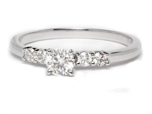 White Gold 0.35 Round cut Engagement Ring With Side Stones