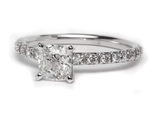 White Gold 1.01 Cushion cut Pave Ring Mountings