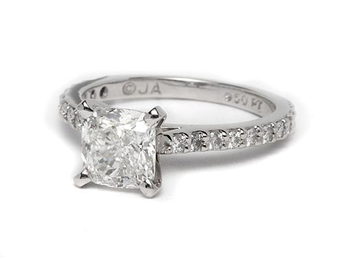 Platinum 1.52 Cushion cut Engagement Ring With Side Stones