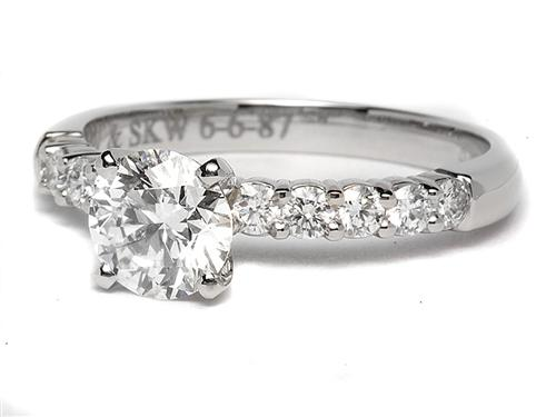 Platinum 1.23 Round cut Engagement Rings With Sidestones