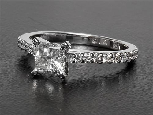 White Gold 0.79 Princess cut Engagement Rings With Side Stones