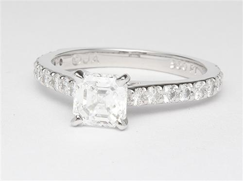 Platinum 1.01 Asscher cut Side Stone Engagement Rings