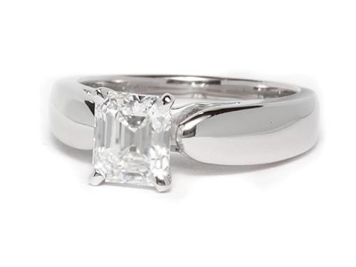 White Gold 0.95 Emerald cut Solitaire Diamond Ring