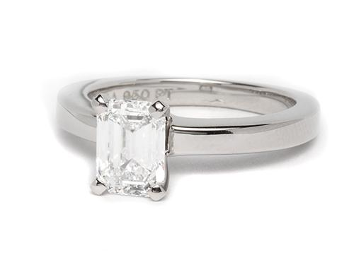Platinum 1.26 Emerald cut Solitaire Engagement Ring