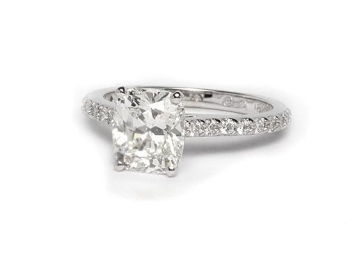 White Gold 1.81 Cushion cut Engagement Ring With Sidestones