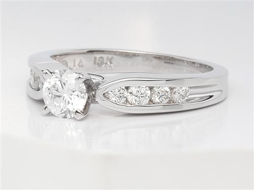 White Gold 0.45 Round cut Diamond Rings