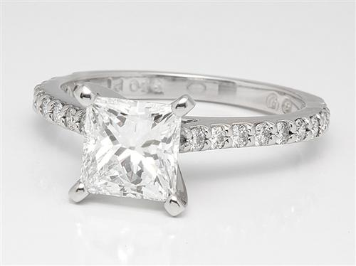 Platinum 0.86 Round cut Engagement Rings