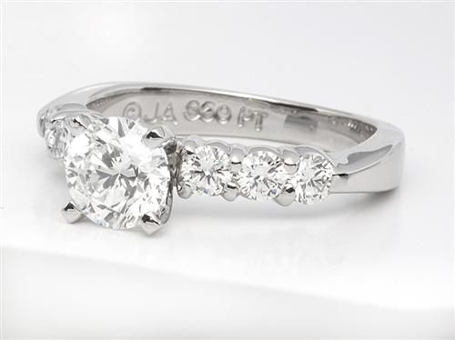 Platinum 0.86 Round cut Engagement Rings Side Stones