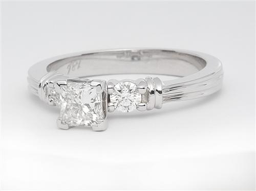 White Gold 0.51 Princess cut Engagement Ring Side Stones