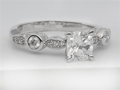 White Gold 0.93 Cushion cut Engagement Rings With Sidestones