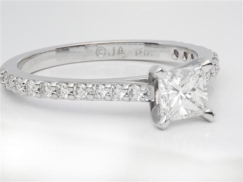White Gold 0.67 Princess cut Diamond Rings