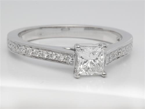 White Gold 0.50 Princess cut Pave Ring Settings