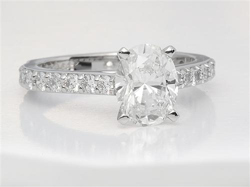 Platinum 1.32 Oval cut Engagement Ring Settings With Side Stones