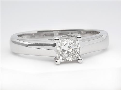 White Gold 0.59 Princess cut Solitaire Engagement Ring