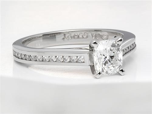 Platinum 0.92 Cushion cut Diamond Ring With Sidestones