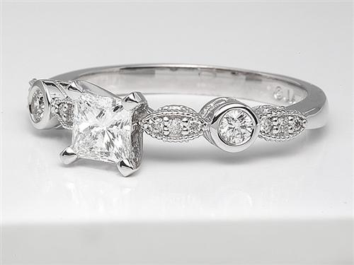 White Gold 0.54 Princess cut Diamond Ring With Side Stones