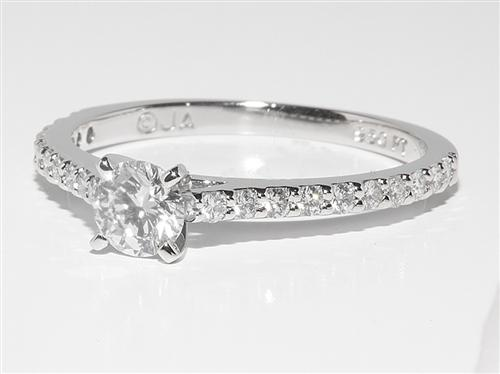 Platinum 0.48 Round cut Diamond Rings With Side Stones