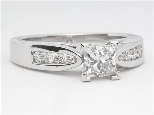 White Gold 0.56 Princess cut Diamond Rings