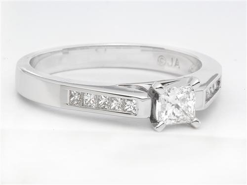 White Gold  Princess Cut Engagement Rings With Side Stones