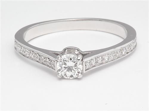 White Gold 0.30 Round cut Pave Diamond Engagement Ring