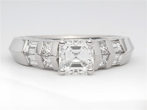 Platinum 1.00 Asscher cut Engagement Ring Settings With Side Stones