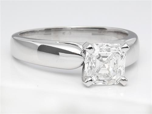 White Gold 1.51 Asscher cut Solitaire Engagement Rings