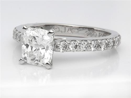 Platinum 1.12 Cushion cut Diamond Rings