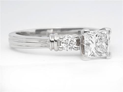 White Gold 0.90 Princess cut Engagement Rings With Side Stones