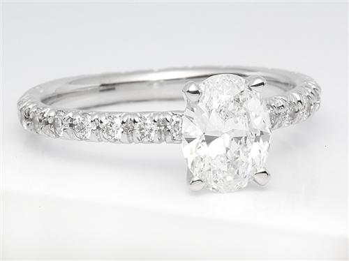 White Gold 0.92 Oval cut Pave Ring Mountings