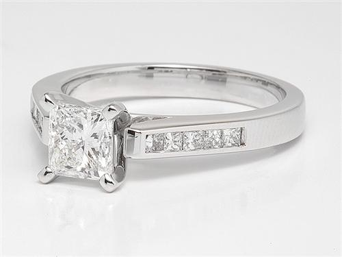 White Gold 0.74 Princess cut Engagement Ring With Side Stones