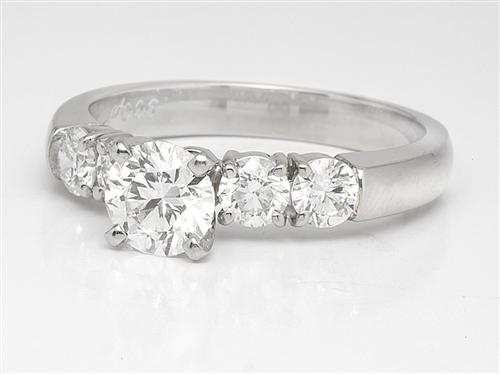 Platinum 0.75 Round cut Bridal Set Wedding Rings