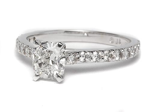 White Gold 1.01 Cushion cut Engagement Ring With Sidestones