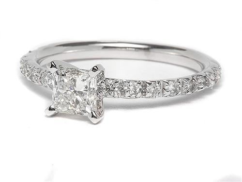 White Gold 0.74 Princess cut Engagement Rings