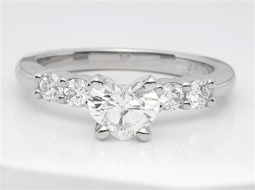Platinum 0.47 Heart shaped Engagement Ring Side Stones