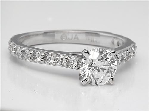 White Gold 0.73 Round cut Side Stone Engagement Ring