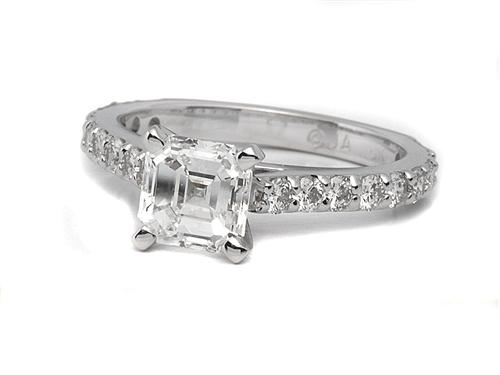 White Gold 1.10 Asscher cut Princess Cut Engagement Rings With Side Stones