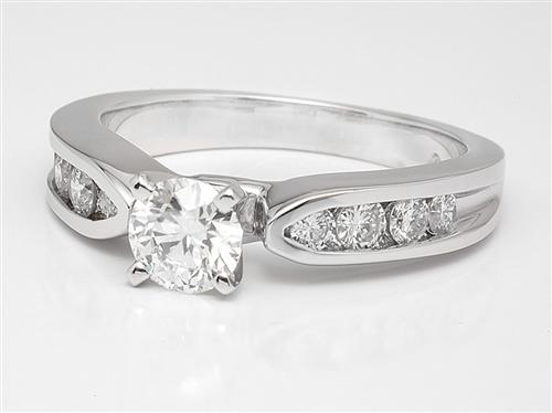 White Gold 0.43 Round cut Side Stone Engagement Rings