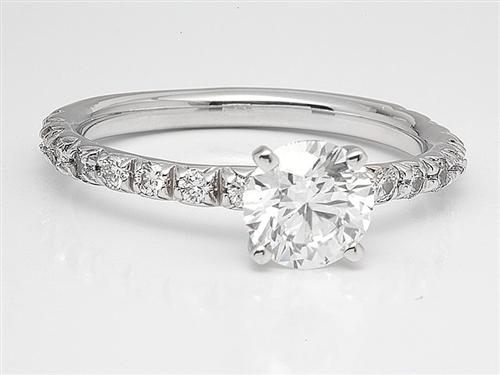 White Gold 0.91 Round cut Pave Ring Setting
