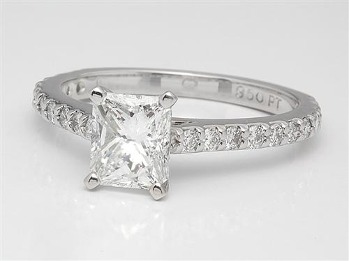 Platinum 1.01 Radiant cut Side Stone Engagement Rings