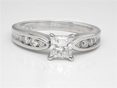 Platinum 0.79 Princess cut Engagement Rings With Side Stones