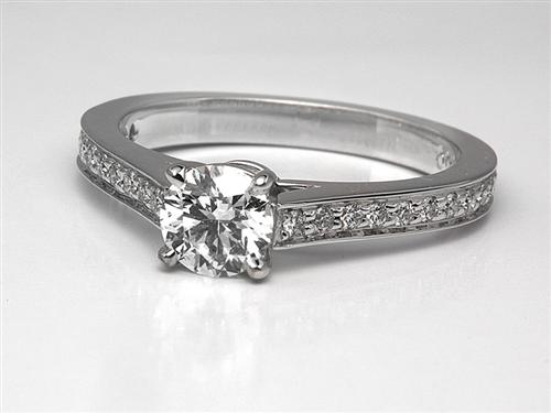 White Gold 0.49 Round cut Pave Diamond Engagement Ring