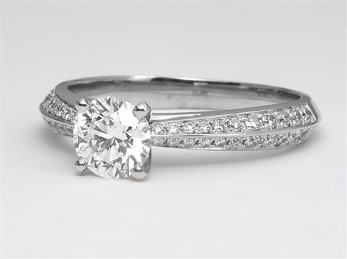 White Gold 0.81 Round cut Pave Ring Set