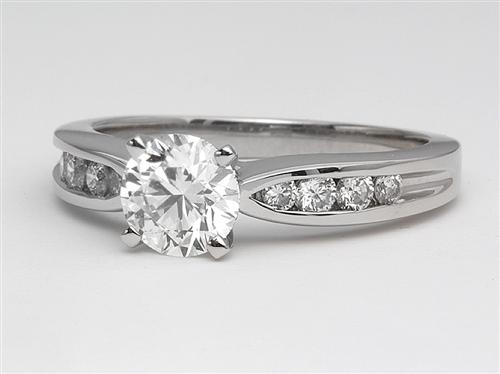 Platinum 1.02 Round cut Engagement Rings